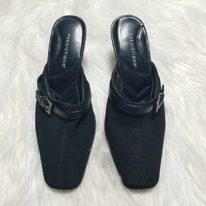Predictions   Black Square Toe Mule Heel Shoes 5.5